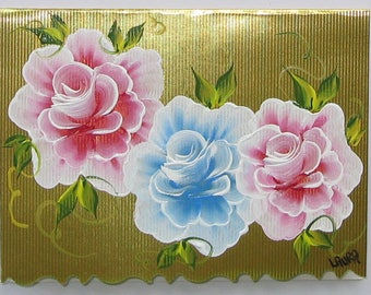 Hand Painted Card - Pink and Blue Roses - No. 1217