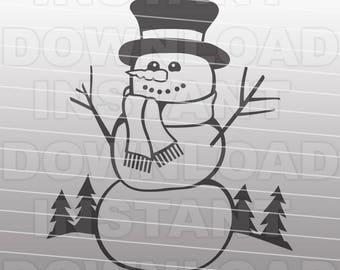 Snowman SVG File-Christmas SVG File-Die Cut,Vector Clip Art Commercial & Personal Use Cricut,Silhouette,Cameo,Vinyl,Decal,DIY,Screenprint
