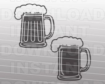 Beer Mugs Collection SVG File,Beer SVG File,Cutting Template-Vector Clip Art for Commercial & Personal Use-Cricut,Silhouette,Cameo,Vinyl