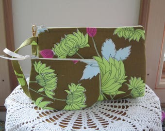 Chrysanthemum in Olive,  Smart phone Case, Gadget Pouch, Clutch, Wristlet Zipper Gadget Pouch, Bag  Made in USA Set