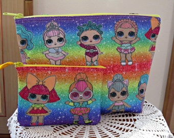 Childs Rainbow LOL Surprise Doll Zipper Tote Set, LOL Surprise Tote Set, Doll Tote, Tote for Kids