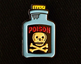 Blue Poison Bottle Lapel Pin