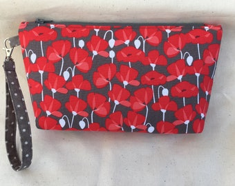 Bright Red Poppies Wristlet Purse