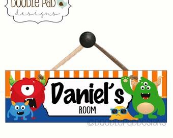 Monsters Door Sign, Personalized Door Sign, Boy Name Sign