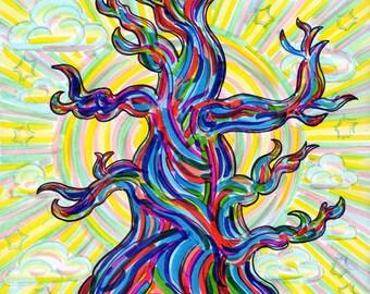 Greeting Card, Methuselah, Oldest Tree, Bristlecone Pine, Longevity, Mystical Happy Birthday, Earth Eco art, Majestic Ancient, Tree medicine