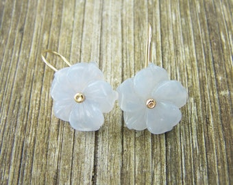 Carved Chalcedony flowers pinned with 14K SOLID gold earwire