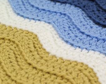 PDF Turtle Beach / Ribbed Ripple blanket CROCHET PATTERN
