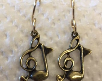 Bronze Music Charm Earring with 14 K Gold Filled Ear Wires