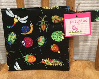 Reusable Little Snack Bag - pouch adults kids bugs eco friendly by PETUNIAS