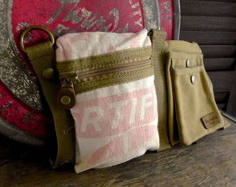Certified Corn - Hubbards Feed -  Convertible Belt/Waist Bag Vintage seed sack - Americana OOAK Canvas & Leather Bag Selina Vaughan Studios