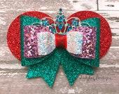 Ariel Glitter Bow ~ Disney Princess Minnie Ears Sparkle Hair Clip ~ Rhinestone Tiara Crown ~Little Mermaid Chunky Aqua Turquoise Red Purple