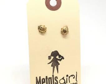 SALE Ladybug earrings brass ladybug studs