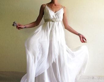Boho bridal gown, grecian goddess dress, flapper wedding dress, alternative bridal dress, lace, ivory and white silk