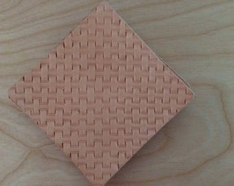 Hand Stamped Leather Basketweave Coaster