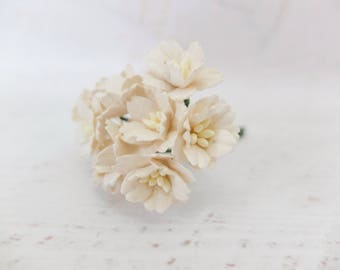 10 20mm cream paper cherry blossoms - 2cm off white paper flowers with wire stems