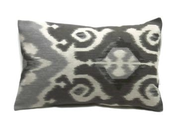Decorative Lumbar Pillow Cover Gray White Ikat Design  12x18 inch Toss Throw Accent Same Fabric Front/Back
