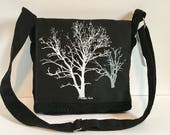 Sycamore and Walnut Tree Messenger Bag Black Embellished Corduroy 10 x 10