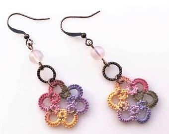 Summer Dangle Earrings, Drop Earrings, Long Earrings, Beaded Jewelry, Lacy Textile Jewelry, Multi Color Jewelry, Mother Grandmother Gift