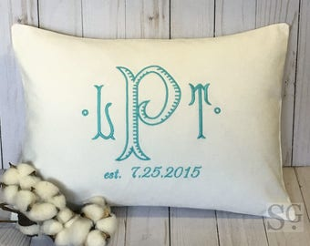 Wedding Date Monogram Pillow Cover 12 x 16. Modern Bridal Personalized Gift. 2nd Anniversary. Chinoiserie Monogram. Embroidered Linens