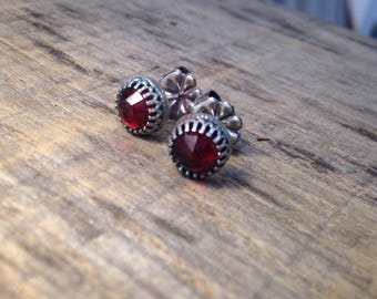 Sterling and Rose cut Garnet Post Stud Earrings