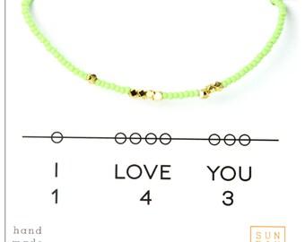 I Love You  Bracelet - Friendship Seed Bead Bracelet -143 Bracelet - Mint