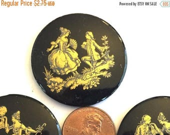 SALE 15% off VIntage cameo (1) large  cameo courting couple man woman Victorian black gold  Wedding Bridal painted gold flatback 34mm round