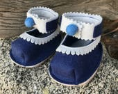 Felt Doll Shoes - Sailor - Free Shipping!