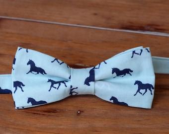 Horse Bow Tie - equestrian bow tie for boys, blue boys bow tie, smash cake bow tie, preppy bow tie, toddler bowtie, boys wedding bow tie