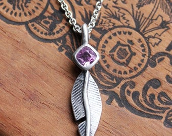 Feather necklace, pink sapphire necklace, silver boho necklace, bezel set necklace, oxidized silver necklace, boho feathers, ready to ship