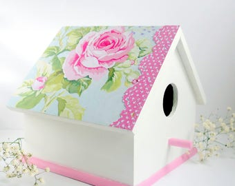 Decorative birdhouse, wood bird house, Mother's Day gift, Easter decor, Spring decor, gift for her, gift under 20, pink white decor, floral