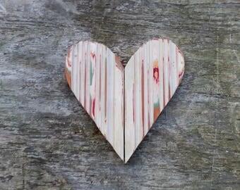 Chippy Wooden Heart, Reclaimed Wood Heart, Boho Wall Decor, Bohemian Decor, Rustic Wall Decor, Primitive Heart, Distressed Heart