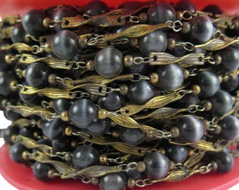 """Vintage Yellow """"Tigers Eye"""" Glass Beaded Chain with Cable Links (4 Feet) (CP252)"""