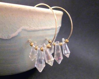 Crystal Point Earrings, Gold Beaded Hoop Earrings, FREE Shipping U.S.