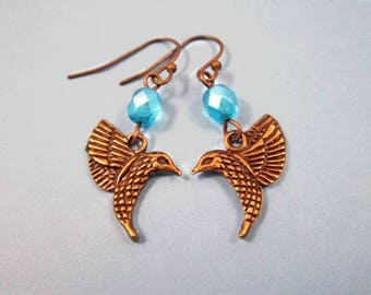 Hummingbird Earrings, Blue Luster Glass Beads, Brass Bird Dangle Earrings, FREE Shipping U.S.