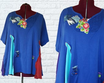 5X Color block Shirt Eco Friendly Flower Plus Recycled Fashion Wide Flare Multi colored