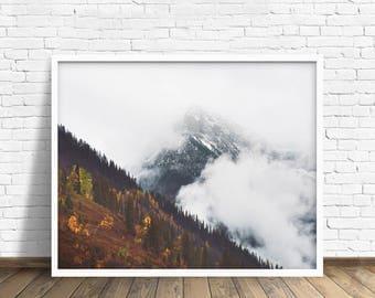 """landscape photography, large art, large wall art, clouds, mountains, landscape, glacier park, nature, montana, landscape - """"Glacier Fog"""""""