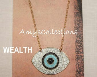 MANDALA (WEALTH) EYE, Hand-painted, Delicate Solid Brass Chain Necklace (White)