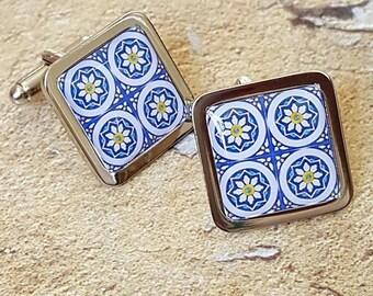 Portuguese Daisies Tile Cufflinks