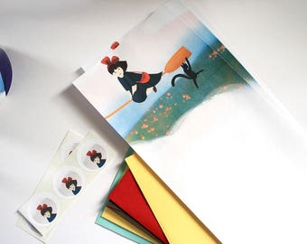 Kiki fanart writing paper set - Illustrated writing paper set with envelopes and assorted stickers