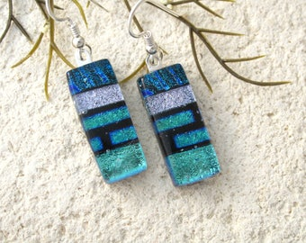 Green BlueSilver Earrings, Dichroic Earrings, Dichroic Jewelry, Dangle Drop Earrings, Fused Glass Sterling Earrings, ccvalenzo, 072017e102