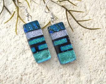 Green BlueSilver Earrings, Dichroic Earrings, Dichroic Jewelry, Dangle Drop Earrings, Fused Glass Sterling Earrings, ccvalenzo, 072017e102