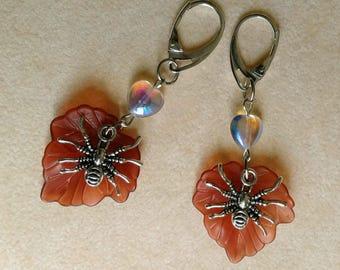 Spider and Leaf Earrings, Heart Spider Earrings, Large Acrylic Leaf, Silver plated Leverback - Halloween Creature by enchantedbeads on Etsy