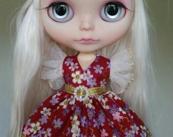 SALE Gold and Dark Red Sakura flower flutter sleeve dress for Blythe and Pullip