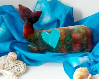 Wool Stuffed Whale Toy: Organic & Ecofriendly Natural Plush Animal (Hand Dyed Bamboo Velour Toy) 'Humphrey' Waldorf Inspired Ocean Toy