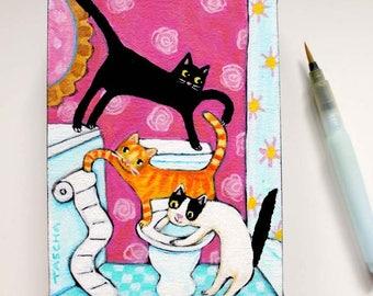 Bathroom Cats Original painting Cute Cat folk art painting three cats with toilet paper black cat orange cat and tuxedo cat by artist Tascha