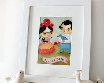 Frida Kahlo and Diego PRINT of painting cute little frida with black cat and blue dog folk art mini poster by Tascha