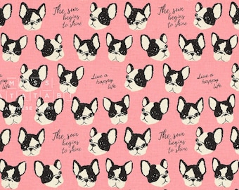 Japanese Fabric Kokka Boston Terriers - pink - fat quarter