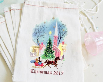 Christmas Favor Bags - Christmas Party Village - Muslin Favors Bag - Vintage Custom 4X6 or 6X8 10 ct. - Victorian Town Customize Family Name