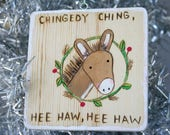Donkey CHRISTMAS ORNAMENT wood burned wall decor song lyrics Dominick the Donkey Decoration Italian wood burning beading