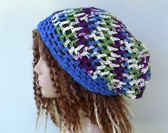 Cotton snood slouchy hat, smaller Dread Tam cotton Hair wrangler beach hat Slouchy Beanie, blue cream purple green summer woman beanie hat